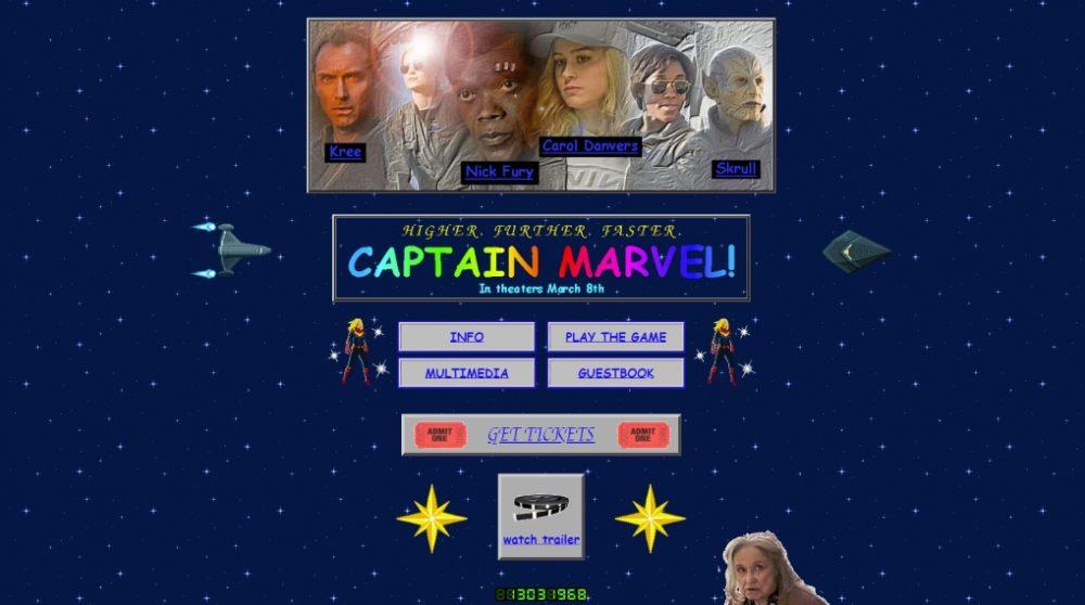 Captain Marvel hjemmeside 1990'erne / Filmz.dk