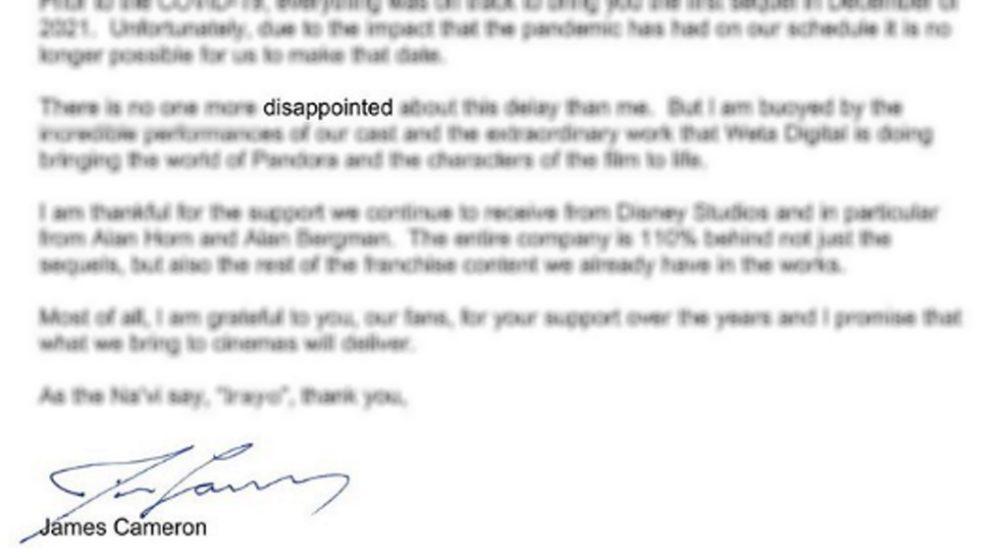 James Cameron brev udsættelse Avatar 2 / Filmz.dk