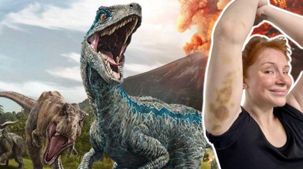 Jurassic World Dominion blå mærker stunts / Filmz.dk